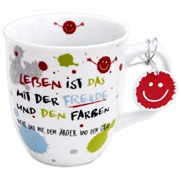 H:)PPY life 45357 Kaffeebecher mit Dekor Freude, Geschenktasse, Porzellan, 40 cl - 1