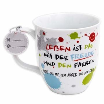 H:)PPY life 45357 Kaffeebecher mit Dekor Freude, Geschenktasse, Porzellan, 40 cl - 2