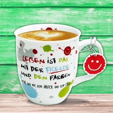 H:)PPY life 45357 Kaffeebecher mit Dekor Freude, Geschenktasse, Porzellan, 40 cl - 4