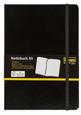 Idena 209281 - Notizbuch FSC-Mix, A5, kariert, Papier cremefarben, 96 Blatt, 80 g/m², Hardcover in schwarz, 1 Stück - 1