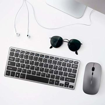 INPHIC Kabellose Maus, Slim Silent Click Mini Wiederaufladbare Wireless Mouse, 2.4G USB Optische Mäuse PC Laptop Computer Funkmaus Mini mit Nano Empfänger, für Windows Mac MacBook Linux - Grau - 7