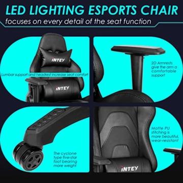 INTEY Gaming Stuhl Racing Stuhl mit LED Licht, Bürostuhl Chefsessel Schreibtischstuhl Drehstuhl Racer Gamer Stuhl PC Stuhl, mit Wippfunktion, RGB LED Streifen, 5V 2A, Belastbar bis 136 KG (Schwarz) - 2