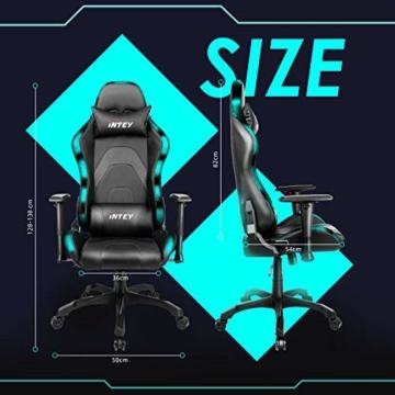 INTEY Gaming Stuhl Racing Stuhl mit LED Licht, Bürostuhl Chefsessel Schreibtischstuhl Drehstuhl Racer Gamer Stuhl PC Stuhl, mit Wippfunktion, RGB LED Streifen, 5V 2A, Belastbar bis 136 KG (Schwarz) - 4