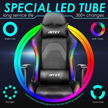 INTEY Gaming Stuhl Racing Stuhl mit LED Licht, Bürostuhl Chefsessel Schreibtischstuhl Drehstuhl Racer Gamer Stuhl PC Stuhl, mit Wippfunktion, RGB LED Streifen, 5V 2A, Belastbar bis 136 KG (Schwarz) - 5