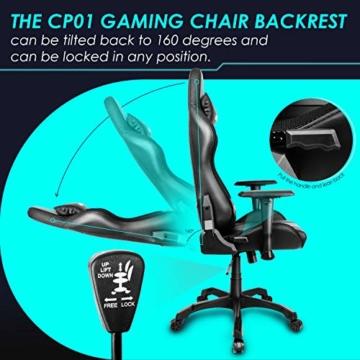 INTEY Gaming Stuhl Racing Stuhl mit LED Licht, Bürostuhl Chefsessel Schreibtischstuhl Drehstuhl Racer Gamer Stuhl PC Stuhl, mit Wippfunktion, RGB LED Streifen, 5V 2A, Belastbar bis 136 KG (Schwarz) - 6