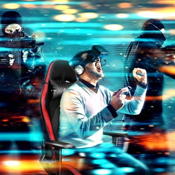 INTEY Gaming Stuhl Racing Stuhl mit LED Licht, Bürostuhl Chefsessel Schreibtischstuhl Drehstuhl Racer Gamer Stuhl PC Stuhl, mit Wippfunktion, RGB LED Streifen, 5V 2A, Belastbar bis 136 KG (Schwarz) - 8