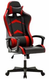 IntimaTe WM Heart Gaming Stuhl, Bürostuhl mit verstellbarem Kopfkissen und Lendenkissen, Ergonomischer Schreibtischstuhl, Racingstuhl Mir hoher Rückenlehne (Rot) - 1