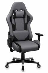 IntimaTe WM Heart Gaming Stuhl, Racing Gamer Stuhl Bürostuhl Stoff, Ergonomischer Computerstuhl Drehstuhl mit Hoher Rückenlehne, Grau - 1