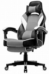 IntimaTe WM Heart Racing Stuhl mit hoher Rückenlehne, Ergonomischer Gamingstuhl, Bürostuhl aus Kunstleder (Grau) - 1