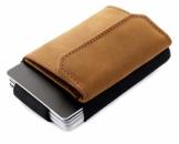 JAIMIE JACOBS Minimalist Wallet Nano Boy Pocket Mini Geldbörse aus Textil mit Zugband schmaler Kartenhalter für Herren und Damen (Büffelleder Hellbraun) - 1
