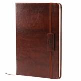 Kesote A5 Notizbuch Liniert Hardcover Leder mit Gummiband Lesezeichen Innentasche, 200 Seiten - 1