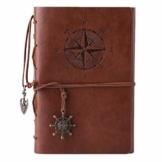 Kunstleder-Tagebuch, Notizbuch, nachfüllbar, Spiralbindung, klassisch, geprägt, Reise-Tagebuch, mit Blanko-Seiten und Retro-Anhängern, von Maleden braun - 1