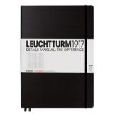 LEUCHTTURM1917 310174 Notizbuch Master Slim (A4+), Hardcover, 123 nummerierte Seiten, Schwarz, kariert - 1