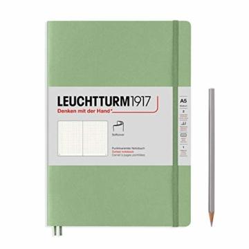 LEUCHTTURM1917 361592 Notizbuch Medium (A5), Softcover, 123 nummerierte Seiten, Salbei, dotted - 1