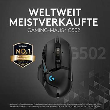 Logitech G502 HERO High-Performance Gaming-Maus, HERO 16000 DPI Optischer Sensor, RGB-Beleuchtung, Gewichtstuning, 11 Programmierbare Tasten, Anpassbare Spielprofile, PC/Mac - Deutsche Verpackung - 5