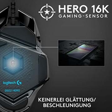 Logitech G502 HERO High-Performance Gaming-Maus, HERO 16000 DPI Optischer Sensor, RGB-Beleuchtung, Gewichtstuning, 11 Programmierbare Tasten, Anpassbare Spielprofile, PC/Mac - Deutsche Verpackung - 6
