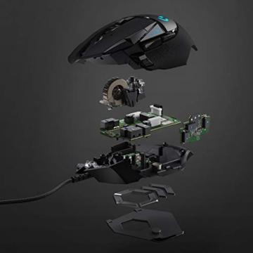 Logitech G502 HERO High-Performance Gaming-Maus, HERO 16000 DPI Optischer Sensor, RGB-Beleuchtung, Gewichtstuning, 11 Programmierbare Tasten, Anpassbare Spielprofile, PC/Mac - Deutsche Verpackung - 9