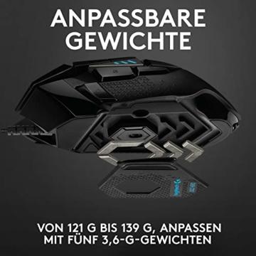 Logitech G502 HERO High-Performance Gaming-Maus, HERO 16000 DPI Optischer Sensor, RGB-Beleuchtung, Gewichtstuning, 11 Programmierbare Tasten, Anpassbare Spielprofile, PC/Mac - Deutsche Verpackung - 10