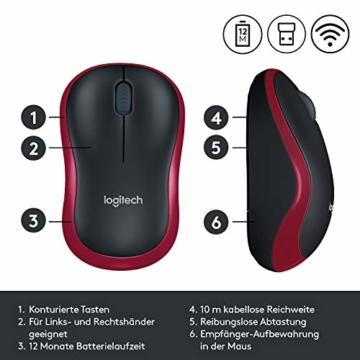 Logitech M185 Kabellose Maus, 2.4 GHz Verbindung via Nano-USB-Empfänger, 1000 DPI Optischer Sensor, 12-Monate Akkulaufzeit, Für Links- und Rechtshänder, PC/Mac - rot - 7