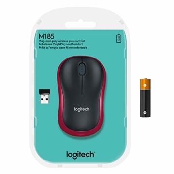 Logitech M185 Kabellose Maus, 2.4 GHz Verbindung via Nano-USB-Empfänger, 1000 DPI Optischer Sensor, 12-Monate Akkulaufzeit, Für Links- und Rechtshänder, PC/Mac - rot - 9