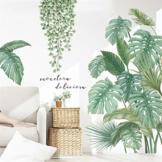 LucaSng DIY Groß Wandtattoo Wandaufkleber, Grüne Pflanze Blätter Schildkrötenblatt Wandsticker Wanddeko für Wohnzimmer Schlafzimmer Flur Kühlschrank (Stil B) - 1