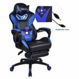 Massage Gaming Stuhl mit Fußstütze, Verstellbarer Hohe Rückenlehne Computer Schreibtisch Bürostuhl, Drehbarer Ergonomischer Stuhl mit Kopfstütze - 1
