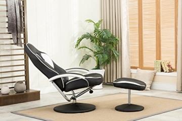MCombo Relaxsessel Gaming Racing Sessel Fernsehsessel kippbar verstellbar Dreh mit Fußhocker Kunstleder Schwarzweiß - 2