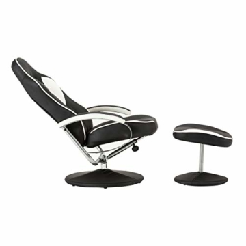 MCombo Relaxsessel Gaming Racing Sessel Fernsehsessel kippbar verstellbar Dreh mit Fußhocker Kunstleder Schwarzweiß - 3