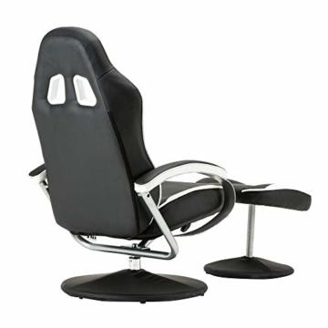 MCombo Relaxsessel Gaming Racing Sessel Fernsehsessel kippbar verstellbar Dreh mit Fußhocker Kunstleder Schwarzweiß - 4