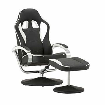MCombo Relaxsessel Gaming Racing Sessel Fernsehsessel kippbar verstellbar Dreh mit Fußhocker Kunstleder Schwarzweiß - 1