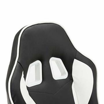 MCombo Relaxsessel Gaming Racing Sessel Fernsehsessel kippbar verstellbar Dreh mit Fußhocker Kunstleder Schwarzweiß - 5