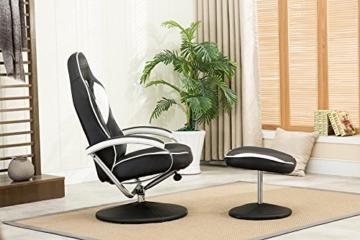MCombo Relaxsessel Gaming Racing Sessel Fernsehsessel kippbar verstellbar Dreh mit Fußhocker Kunstleder Schwarzweiß - 6