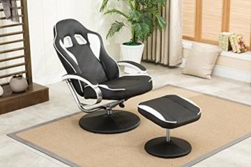 MCombo Relaxsessel Gaming Racing Sessel Fernsehsessel kippbar verstellbar Dreh mit Fußhocker Kunstleder Schwarzweiß - 7