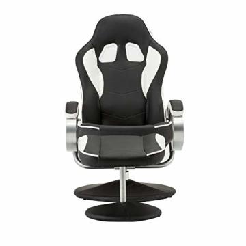 MCombo Relaxsessel Gaming Racing Sessel Fernsehsessel kippbar verstellbar Dreh mit Fußhocker Kunstleder Schwarzweiß - 8