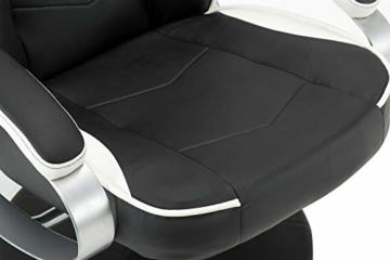 MCombo Relaxsessel Gaming Racing Sessel Fernsehsessel kippbar verstellbar Dreh mit Fußhocker Kunstleder Schwarzweiß - 9