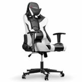 mfavour Gaming Stuhl, Computerstuhl Gaming Sessel Ergonomischer Stuhl, Verstellbare Armlehne, 180º Verstellbare Rücklehne, Hochdichter Schwamm, Kopfstütze, Lendenstürtze, Höhenverstellung Weiss - 1