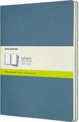 Moleskine Cahier Journal (3er Set Notizbücher mit blanko Seiten, Kartoneinband und Baumwollstickerei, Extra Large 19 x 25 cm, 120 Seiten), Lebhaftes Blau - 1