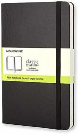 Moleskine - Klassisches Blanko Notizbuch - Hardcover mit Elastischem Verschlussband - Farbe Schwarz - Größe Groß 13 x 21 cm - 208 Seiten - 1