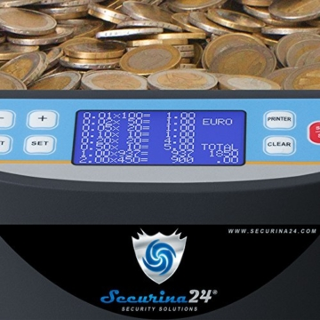 Münzzähler & -sortierer Geldzählmaschine Euro Münzen Geldzähler Münzzählautomat Professional Securina24® (schwarz) - 3