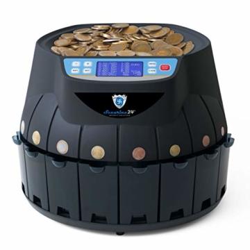 Münzzähler & -sortierer Geldzählmaschine Euro Münzen Geldzähler Münzzählautomat Professional Securina24® (schwarz) - 1