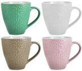 My-goodbuy24 XXL Kaffeebecher Set   4 Stück   400ml   Keramik   Strukturdesign   in den Farben türkis, weiß, Hellbraun, rosa - Ideal für Ihr liebsten morgendlichen Kaffeegenuß - 1