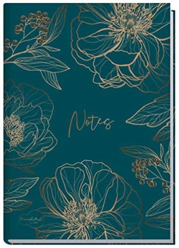 Notizbuch A5 liniert [Goldblüte] von Trendstuff by Häfft | 126 Seiten | ideal als Tagebuch, Bullet Journal, Ideenbuch, Schreibheft | nachhaltig & klimaneutral - 1