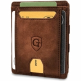 Pacific - Smarte Geldbörse - TÜV geprüft - Magic Wallet - Magischer Geldbeutel mit großem Münzfach - Inkl. Geschenkbox - Smart Wallet - Portemonnaie Herren Damen (Dunkelbraun - Soft) - 1