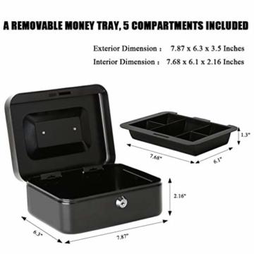 Parrency Geldkassette mit Geldfach,Metallschließfach Sparbüchse mit Tastensperre für Sicherheit, 20 x 16 x 9 cm, Schwarz - 2