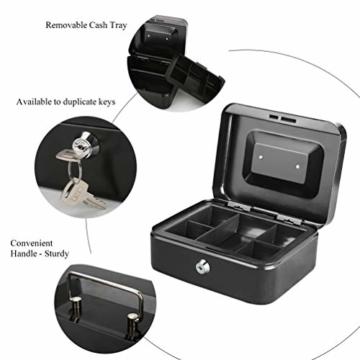 Parrency Geldkassette mit Geldfach,Metallschließfach Sparbüchse mit Tastensperre für Sicherheit, 20 x 16 x 9 cm, Schwarz - 3