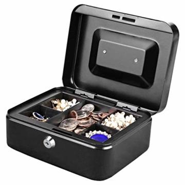 Parrency Geldkassette mit Geldfach,Metallschließfach Sparbüchse mit Tastensperre für Sicherheit, 20 x 16 x 9 cm, Schwarz - 4
