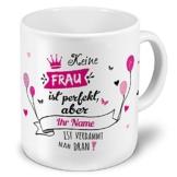 printplanet XXL Riesen-Tasse mit Namen personalisiert - Motiv Nicht Perfekt (Für Frauen) - individuell gestalten - Namenstasse, Kaffeebecher, Becher, Mug - 1