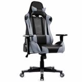 Racing Hochwertiger Bürostuhl Gaming Stuhl, Ergonomischer höhenverstellbar Schreibtischstuhl Chefsessel Computerstuhl Drehstuhl mit einstellbaren Armlehnen, Kunstleder PU Sportsitz Game Chair (Grau) - 1