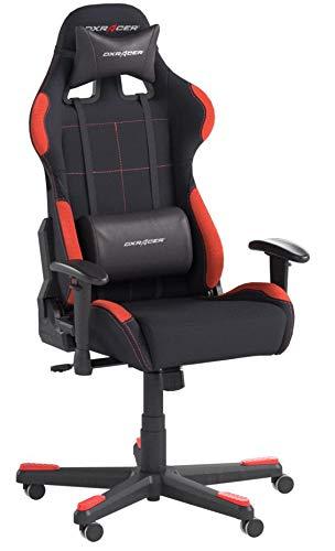 Robas Lund OH/FD01/NR DX Racer 1 Gaming-/ Büro-/ Schreibtischstuhl, mit Wippfunktion Gaming Stuhl Höhenverstellbarer Drehstuhl PC Stuhl Ergonomischer Chefsessel, schwarz-rot - 4