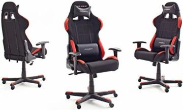 Robas Lund OH/FD01/NR DX Racer 1 Gaming-/ Büro-/ Schreibtischstuhl, mit Wippfunktion Gaming Stuhl Höhenverstellbarer Drehstuhl PC Stuhl Ergonomischer Chefsessel, schwarz-rot - 5